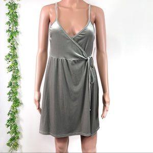 BP Grey Cloudburst Velvet Wrap Dress Size S New